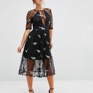 ASOS Petite Lace Midi Bird Embroidery Dress
